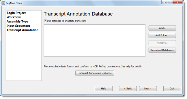 Transcript Annotation Database