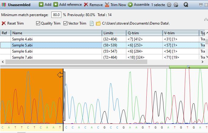 Trimmed Trace Data in SeqMan Ultra